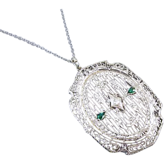 Large oversized vintage Art Deco 14k white gold filigree emerald and diamond pendant necklace