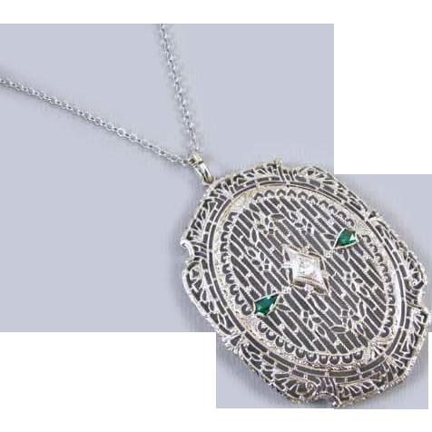 Large oversized vintage Art Deco 14k white gold filigree emerald and diamond pendant necklace