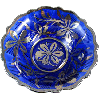 Large vintage Art Deco 1920s cobalt blue glass silver overlay large fluted scalloped bowl