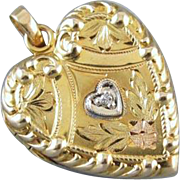 Vintage heart shaped diamond 10k gold locket pendant necklace signed Finberg Manufacturing Company