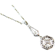 Vintage Art Deco filigree 14k two tone platinum and yellow gold diamond and seed pearl lavalier necklace pendant / lavaliere