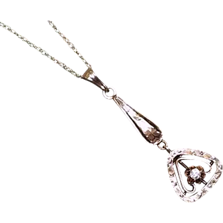 Antique Edwardian 10k gold buttercup set diamond lavalier pendant necklace / lavaliere