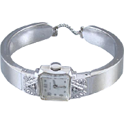 PROFESSIONALLY RESTORED and SERVICED Vintage Art Deco white gold filled Bulova hinged clamper bracelet diamond wrist watch