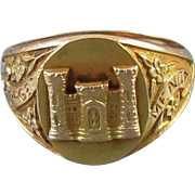 Very scarce vintage WW2 military US Army Corps of Engineers ladies Sweetheart Forget Me Not 10k gold ring signed NABCo Ballou, size 5