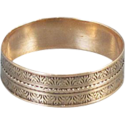 Antique Victorian 9k rose gold engraved tapestry pattern cigar band ring size 5-3/4