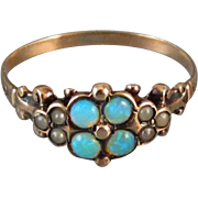 Antique Victorian 10k rose gold opal and seed pearl ring, size 7-3/4