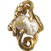 Antique Art Nouveau Edwardian fresh water river pearl 10k gold PINKY or MIDI ring. size 4.25, signed Allsopp Steller