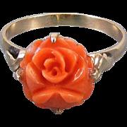 Antique Edwardian 14k gold carved rose flower coral ring, size 6.5