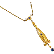 Fantastic 21k gold European made cornflower blue sapphire transitional Edwardian to Art Deco seedpearl lavalier pendant necklace