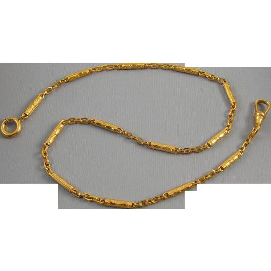 Vintage Art Deco gold filled bar link mens pocket watch chain j121