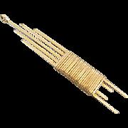 Ultra mod vintage 1970s gold filled wire work wrap pendant necklace / modernism / arts and crafts j344