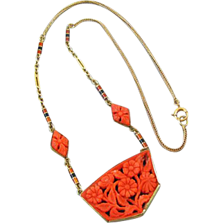 Fantastic antique Art Deco 14k gold hand carved floral red coral and enamel necklace