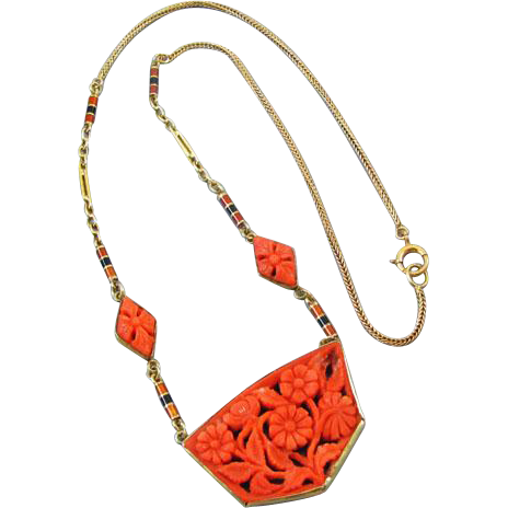 Fantastic antique Art Deco 14k gold hand carved floral red coral and enamel necklace