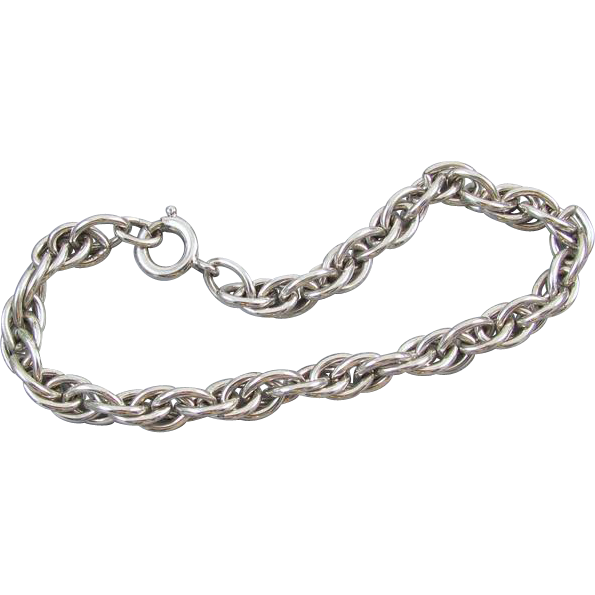 Chunky vintage sterling silver charm bracelet 16.5 grams 7-3/4 inch