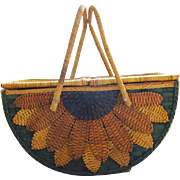 Stunning mid century vintage oversize footed sunflower wicker basket