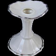 Vintage signed Lenox USA single candle stick holder silver leaf Symphony pattern / porcelain / ceramic / shabby chic / bridal decor / home decor / white