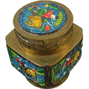 Vintage brass enamel Chinese /  asian / oriental / made in China / opium / tea / lidded jar / trinket box / cachepot / jar / shabby chic / vintage / brass jar / incense