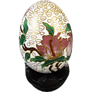 Vintage brass enamel cloisonne egg on stand / japan / japanese / asian / oriental / china / chinese / orchid / flower / shabby chic