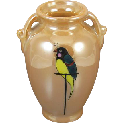 Vintage Art Deco Japan Lusterware / peach luster / asian miniature oriental bud vase hand painted bird / porcelain / ceramic / pottery