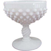 Vintage white milk glass hobnail footed compote bowl mid century / shabby chic / vintage decor / candy dish / nut dish