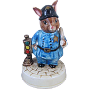 Vintage signed Schmid Beatrix Potter revolving music box plays Waltzing Matilda police officer #345 / hand painted / pottery / ceramic