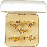Vintage set of originally boxes ladies HGE 18k gold electroplated diamond flower rings, sizes vary / NOS / new old stock