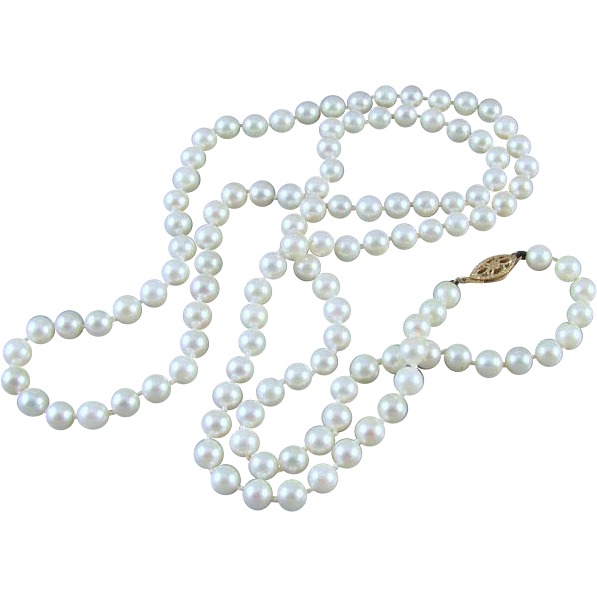 Vintage 30 inch 5.5mm hand knotted opera length genuine cultured salt water pearl necklace strand with 14k gold filigree clasp