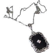 Vintage Art Deco 14k white gold filigree black onyx and diamond pendant necklace with original chain / 1920s