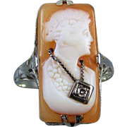 Vintage Art Deco 14k white gold filigree cameo wearing a Hawaiian lei diamond En Habille ring / size 7 / 1920s / flapper / roaring 20s