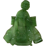 Vintage Wony Italy / G. Ruggeri / faux jade green resin figural Asian woman / geisha / oriental / Japan / Japanese / statue / mid century