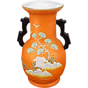 Vintage Art Deco Asian / Japan / Oriental / vase / figural / satsuma / hand painted / porcelain / bonsai tree / pagoda / Hotta Yu Shoten