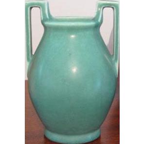 Vintage Rookwood Arts and Crafts Mission style Art Deco 1928 matte glaze teal blue green ceramic / pottery / vase 2558 / X5378
