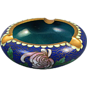 Vintage mid century China / Chinese / Asian / Oriental / cloisonne enamel ashtray / peony / cobalt blue / teal / brass / smoking / tobacciana