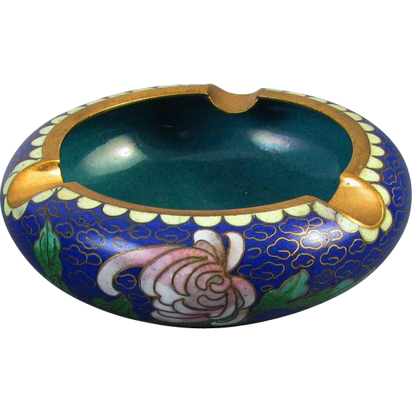 Vintage mid century China / Chinese / Asian / Oriental / cloisonne enamel ashtray / peony / cobalt blue / teal / brass / smoking / tobacciana / cigarette