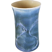 Vintage mid century teal blue swirl matte American art pottery / studio pottery / fade to white / vase / artist marked / ceramic