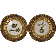 Pair of vintage mid century gold leaf picture frame shadow box lock and key wall art / wall hanging / wall plaque / Andrew Kolb & Son #1035