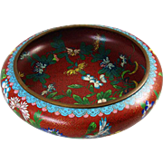 Vintage cloisonne enamel extra large floral bowl / mid century China / Chinese / Asian / Oriental / brass