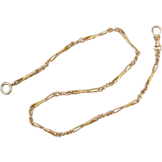 Vintage Art Deco gold filled pocket watch chain signed A&Z (Hayward) J18 elongated figure eight ornate engraved links / pocket watch / fob