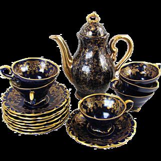 Vintage 16 piece set Lindner Rosengold Echt Cobalt blue porcelain demitasse espresso coffee pot / tea pot / cup & saucer / Kueps Bavaria / Germany / tea service / tea set