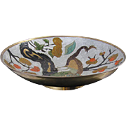 Vintage mid century cloisonne enamel peacock bird solid brass made in India large bowl / fruit / dish / shabby chic / vintage decor / Indian