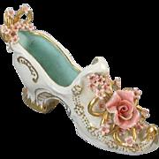Signed J. Madge Walsh Los Angeles vintage ceramic / porcelain shoe / roses / gold / shabby chic / figural / figurine / pottery / china