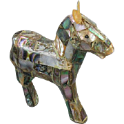 Vintage mid century abalone inlay donkey figurine / democrat / liberal / shabby chic / home decor / statue / 1960 / Mexico / Mexican / burro / mule / ass / hinny