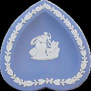 1953 Wedgwood blue jasperware heart shaped trinket tray / tip tray / ash tray / jewelry dish / trinket dish / nut dish / candy dish / rings