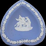 1953 Wedgwood blue jasperware heart / pegasus / trinket tray / tip tray / ash tray / jewelry dish / trinket dish / nut dish / ring tray