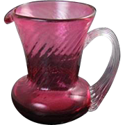 Vintage hand blown cranberry glass miniature pitcher / creamer / clear handle / depression glass / shabby chic / carnival glass