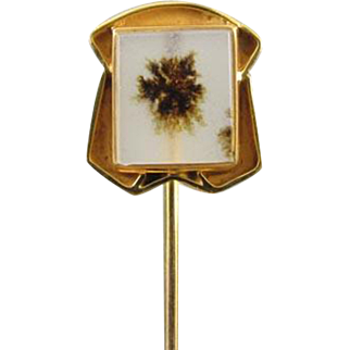Antique Art Deco 10k gold moss agate stick pin stickpin lapel pin tie pin convert to ring signed Miller-Steinau- Portland, Oregon