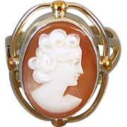 Vintage mid century hand carved Italian shell cameo ring 10k gold mounting / size 5-3/4