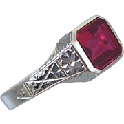 Vintage early Art Deco 10k white gold synthetic lab created flame fusion ruby ring / size 8-3/4 / signed WWW White Wile Warner
