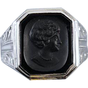 Vintage Art Deco 10k white gold black onyx cameo intaglio flapper girl short bobbed hair with pearl necklace ring / size 8-3/4 / unisex / signed Kraus & Beam