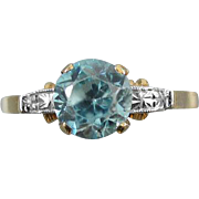 Vintage Art Deco 14k gold and platinum natural blue zircon solitaire ring / size 6-1/2 / signed Untermeyer Robbins Company